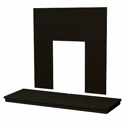 Black Electric Fire Fireplace Wall Floor Hearth & Back Panel Set - 48""