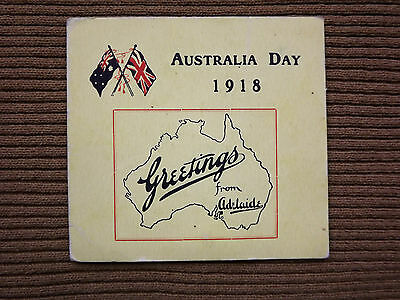 WWI AUSTRALIA DAY 1918 greetings card from Adelaide