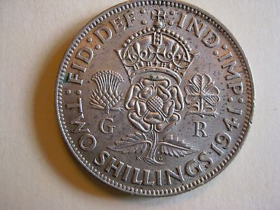 Great Britain 1941 2 Shillings (Florin) SILVER Large Coin George VI