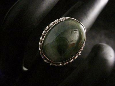 Beautiful Silver Natural Oval Cut Moss Agate Gemstone Ring Size 8.5