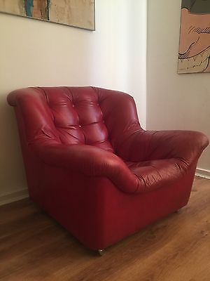 Vintage 1970's Red Leather De Sede Armchair Bucket Seat