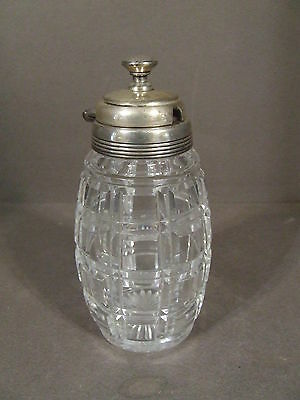 Vintage Victorian Quilted Cut Crystal Honey Jam Jar With Silverplate Hinged Lid