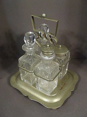 Vintage Silver On Nickel Condiment Castor Cruet Set