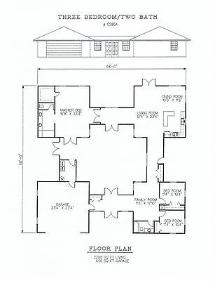 2208 square foot three bedroom house plan