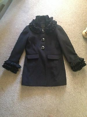 Girls Next STUNNING Black Frill Neck & Cuffs Detailed Winter Coat Aged 7-8 years