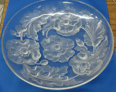 """Verlys art glass bowl Flowers Very Nice 13 1/2"""" Signed"""