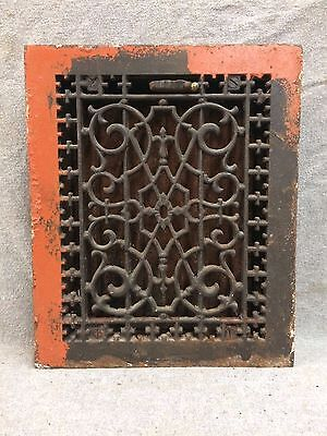Antique Cast Iron Heat Grate Vent Register Old Decorative Vintage 8x10 2160-16