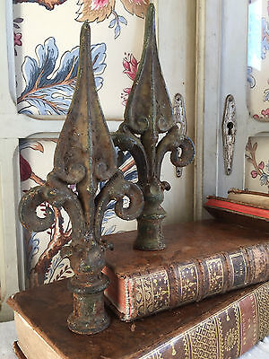 Gorgeous Antique French Solid Fount Finial Rod Mount Castle Gate/curtain C1880