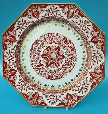 Antique Minton Red and Gold Porcelain Plate 19C a/f