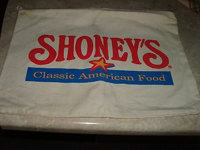 Vintage SHONEY'S Advertising Burlap Zippered Bag Classic American Food