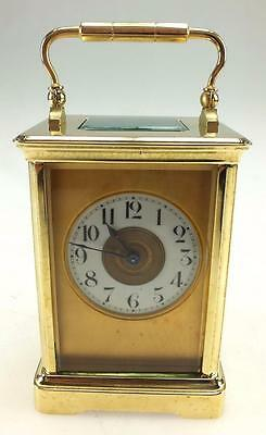 A Great 8 Day French Bronze Masked Dial Carriage Mantel Clock Original Balance