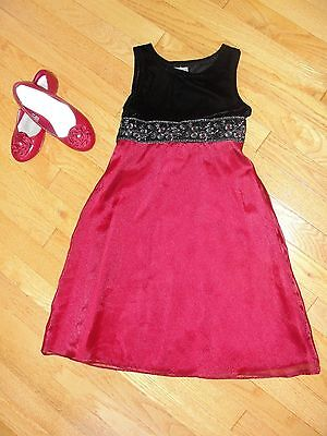 Matching Lot- Perfectly Dressed Black Velvet/red Dress 7 & Red Gymboree Shoes 2