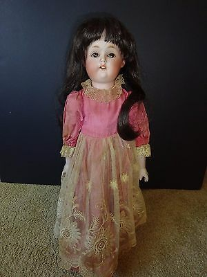 """Antique 18""""  Bisque Head Leather Doll with RE Nippon Head Head"""
