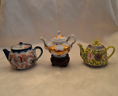 3 Vintage Miniature Collectable China Teapots Chinoiserie Chinese Porcelain VGC