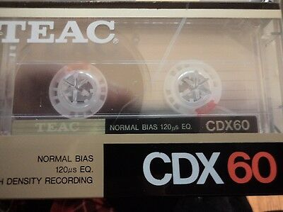 1 x TEAC CDX 60 Minute Type I Blank Cassette BRAND NEW / STILL SEALED!