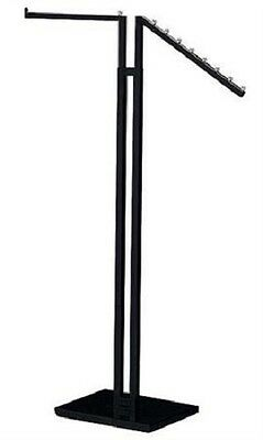 Clothes Rack Two Way Straight Slant Arms Clothing Garment Retail Display Black
