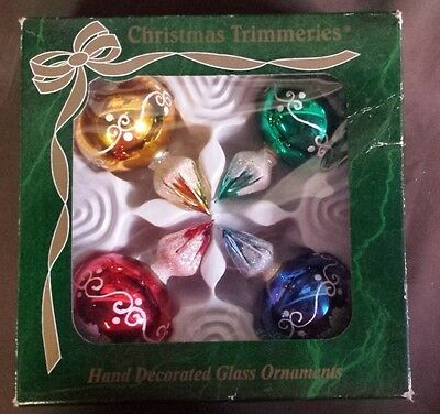 Bradford Christmas Trimmeries Red Blue Green Gold Glass Ornaments in Box