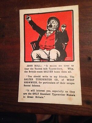 Advertising Post Card Salter Typewriters Of West Bromwich Abt 5 1/2x3 1/2 Inches