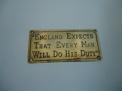 Brass Plaque Words Of Nelson - England Expects That Every Man Will Do His Duty