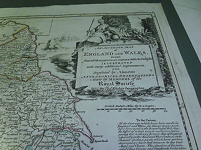 100% Original Large England And Wales  Map By T Kitchin C1776 Vgc