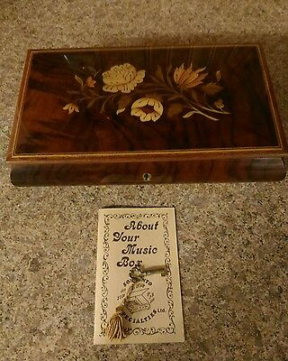 "Vintage REUGE SORRENTO Inlay Music Jewelry Box Italy with key ""Dancer"""