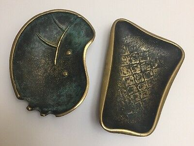 "2 Vintage ""Nordia"" Israel Brass Ashtrays. Very Old."