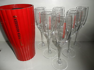 6 Piper Heidsieck Champagne Glasses Red Logo Plus Piper Bottle Cooler Ice Bucket