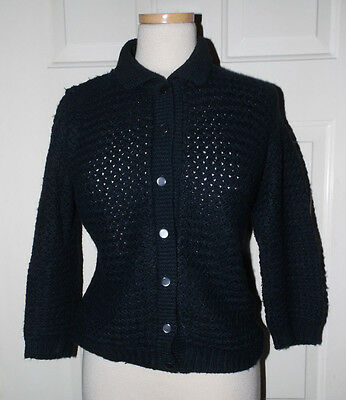 Vintage 1940s-DuBarry-Lovely Black Hollywood Pinup Dress Sweater Cardigan L
