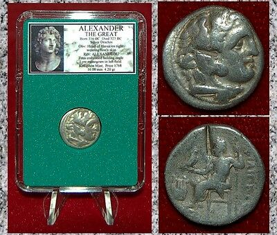 Ancient Greek Coin Of ALEXANDER THE GREAT Herakles Zeus Silver Drachm Kolophon