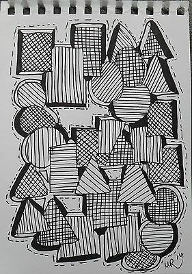 DAILY SKETCH:Original Ink Drawing 'Shape' by Michelle Ranson