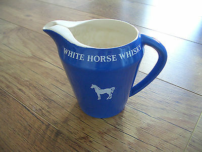 Vintage 1960's White Horse Scotch Whisky Ceramic Pub Water Jug By Wade England
