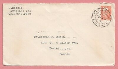 1932 Peru Single Franked Cover Chiclayo Cancel To Canada