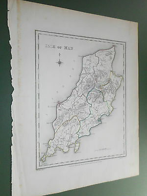 100% Original Isla De Man Map By S Lewis C1835 Vgc