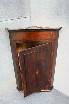 Early Victorian large wall hanging inlaid marquetry corner cabinet shelves draw