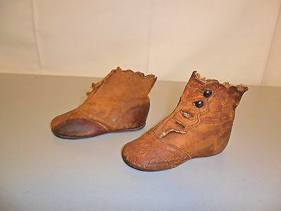 Antique Vintage Old Victorian Brown Leather Button Up Baby Child Shoes