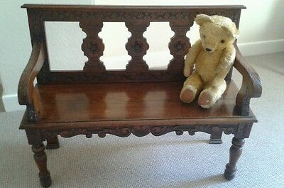Antique victorian hall bench seat chair monks bench settle reception hall bench