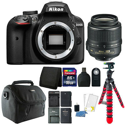 Nikon D3400 24.2 MP Digital SLR Camera with 16GB Valuable Top Accessory Bundle