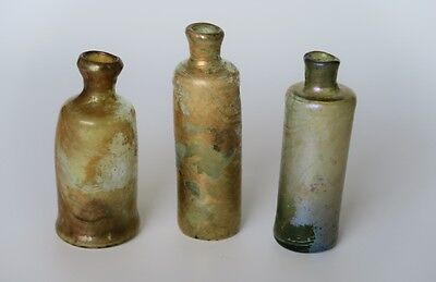 3 early glass Apothecary pharmaceutical medicine vials bottles, 1650 - 1700
