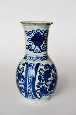 A good authentic Delft delftware faience tin glaze blue and white vase 1750  ...