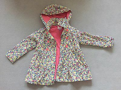 John Lewis Girls Floral Rain Coat / Mac / Jacket With Hood Age 4 Years