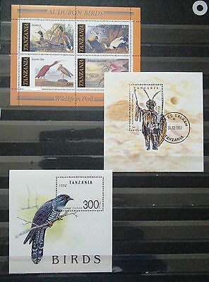 Three Mini Sheets From Tanzania - Including Topic Of Birds