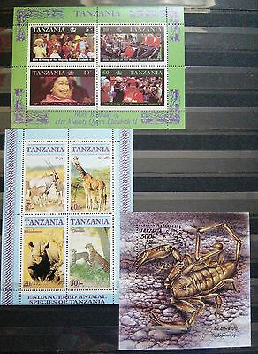 Mini Sheets From Tanzania X 3 - Topics Of Royalty, Animals And Crustaceans