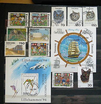 Two Mini Sheets And Stamps From Tanzania - Cats, Sport And Ships