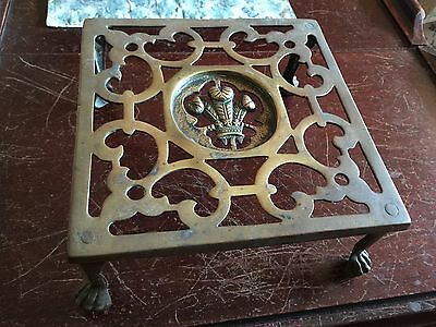 Vintage Ornate Brass Metal Fireplace Hearth Kettle or Cooking Trivet Stand