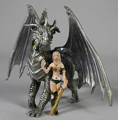 WINTER DRAGON PEWTER FIGURE Rob Carlos Fantasy Art NEW Hand Painted Sculpture