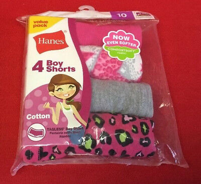 Hanes Girls Size 10 100% Cotton Boy Shorts Fuchsia & Gray Package of 4