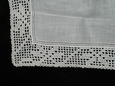 "White lace linen handkerchief doily early 1900's antique 13"" square (Great Gift)"