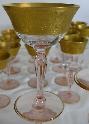 Rare 17 Antique Crystal Gold Dipped Etched Pink Stemed Wine & Sherbets Stemware
