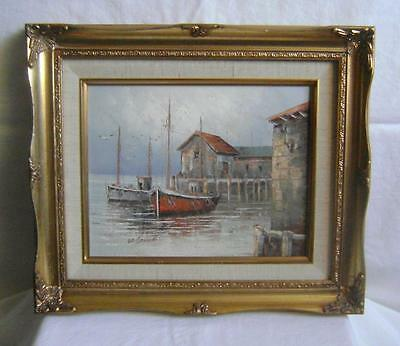 Oil Painting on Canvas in Gold Frame: Ships at Harbour: W Jones: C.20th