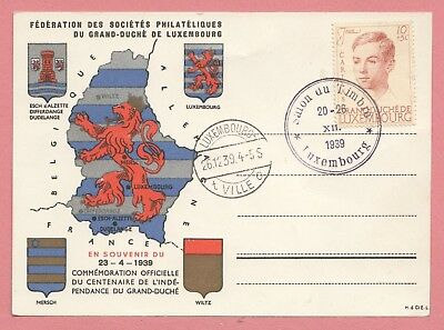 1939 Luxembourg Centenary Of Independence Postcard W/ Special Cancel